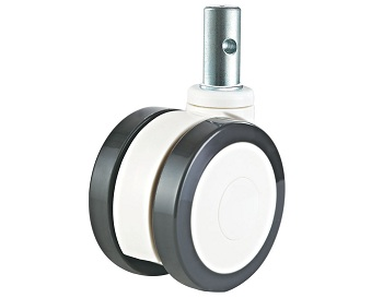 Twin Wheel Medical Caster Polyurethane tread Swivel Round